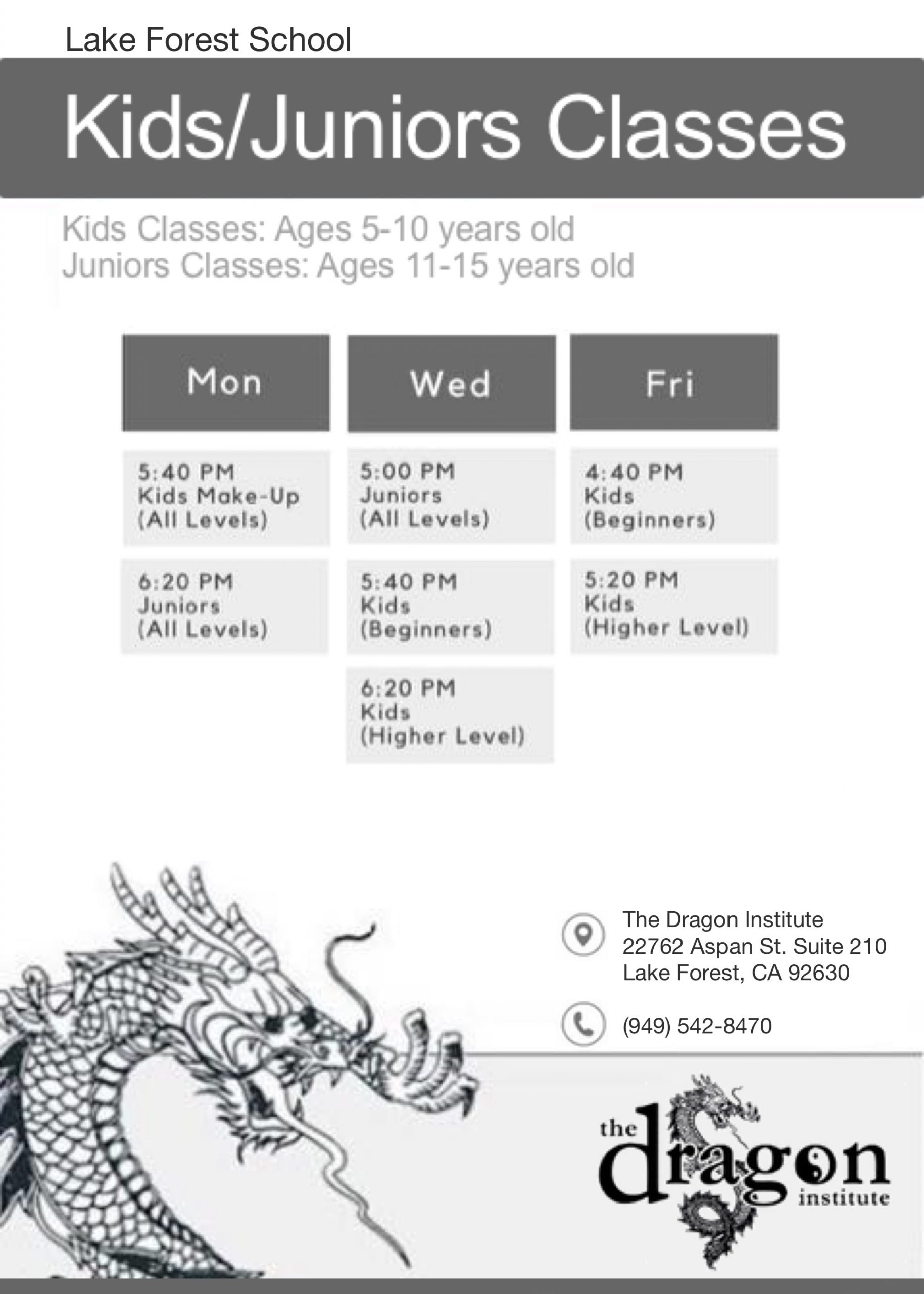 Kids Martial Arts Lake Forest